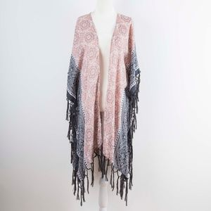 Steve Madden Pink & Gray Fringe Kimono